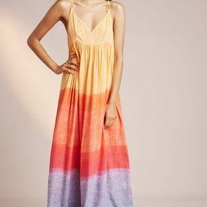 Anthropologie Setting Sun Maxi Dress Rainbow L